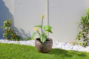 Ghiveci PE modern, rotund, imitație ceramica, model MODERNO L1