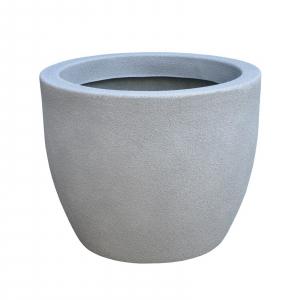 Ghiveci PE modern, rotund, imitație piatră, model RUMBA S0