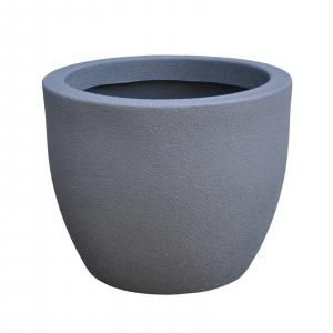 Ghiveci PE modern, rotund, imitație piatră, model RUMBA S1