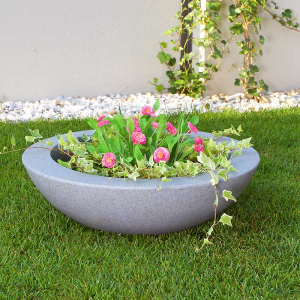Ghiveci PE minimalist, rotund, imitație granit, model BALLET 6001