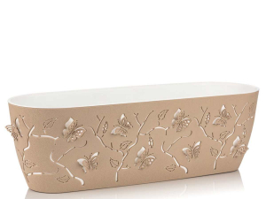 Ghiveci PP modern, oval, model Fluture 3D, L=47cm, 7.3 litri0