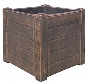 Ghiveci PE rustic, pătrat, imitație lemn, model TEAK S0