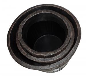 Ghiveci PE rustic, rotund, imitație ciubăr, model POLKA L, Ø48 cm, 60 litri3