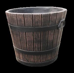 Ghiveci PE rustic, rotund, imitație ciubăr, model POLKA M, Ø39 cm, 30 litri2