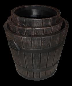 Ghiveci PE rustic, rotund, imitație ciubăr, model POLKA M, Ø39 cm, 30 litri1