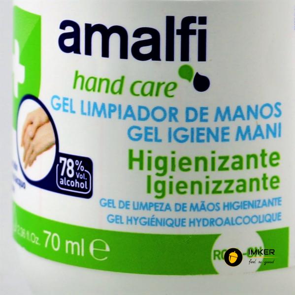 Amalfi gel roll-on igienizant rapid pentru maini, ideal pentru utilizare in masina, 78% alcool, 70 ml - AMALFI 1