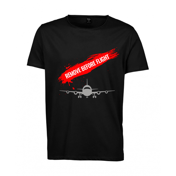 "Tricou barbati ""Remove before flight"" - M, negru"