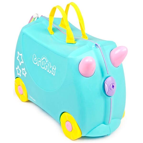 Set travel pentru copii - Valiza TRUNKI UNA - Unicornul + Perna calatorie Trunki Yondi Pink 1