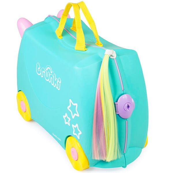 Set travel pentru copii - Valiza TRUNKI UNA - Unicornul + Trunki Tidy Bag Pink