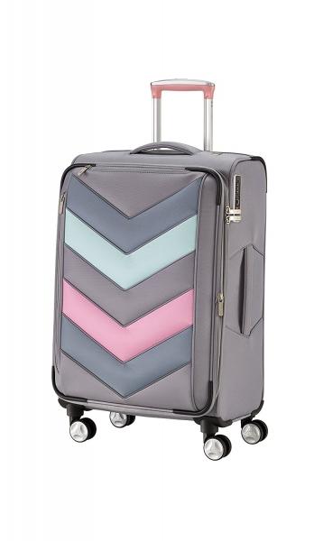 Troler TITAN - SPOTLIGHT Textil 4 roti duble M - 65 cm- Gri Sorbet/Multicolor 0