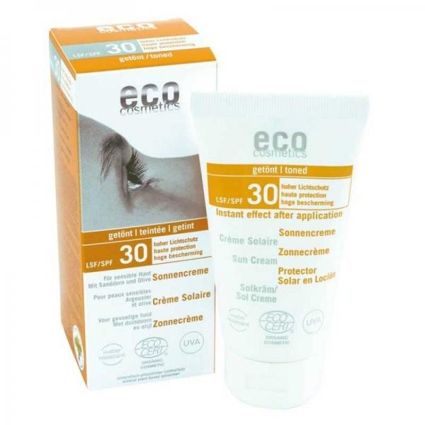 Crema bio protectie solara inalta FPS 30, nuantata - Eco Cosmetics 0