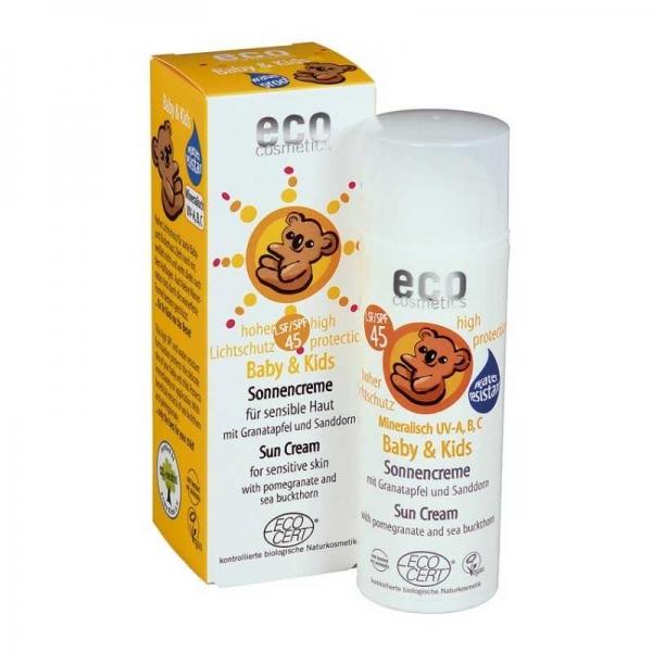 Crema bio protectie solara minerala bebe si copii FPS45 - Eco Cosmetics 0