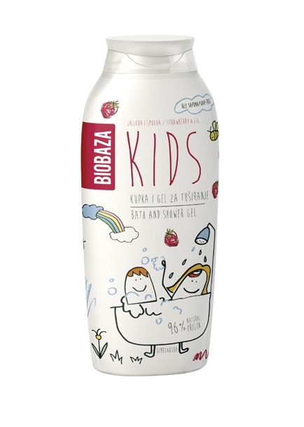 Gel de dus pentru copii cu aroma de smochine si capsuni, 250 ml - BIOBAZA 0
