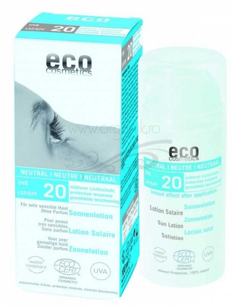 Lotiune fluida de protectie solara FPS20 FARA PARFUM, 100 ml - Eco Cosmetics 0