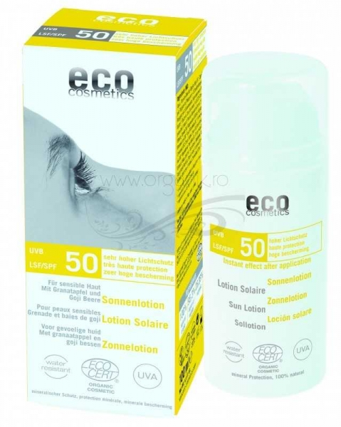 Lotiune fluida de protectie solara FPS 50 cu goji si rodie, 100 ml - Eco Cosmetics 0