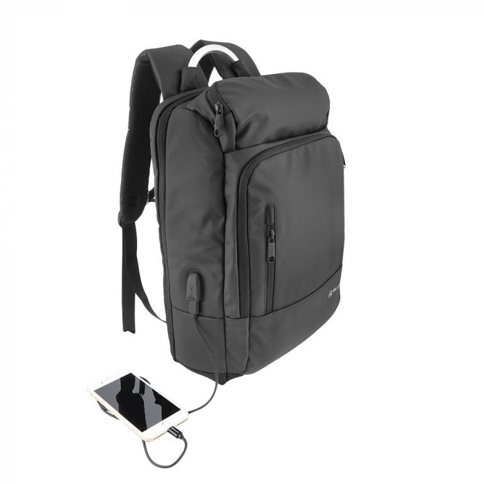 """Rucsac laptop Tellur Business L, cu port USB, 17.3"""", negru [4]"""