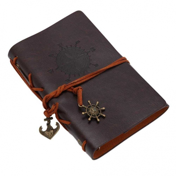 Agenda/Notebook Vintage de calatorie cu coperta din Piele Ecologica Maro 1