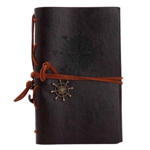 Agenda/Notebook Vintage de calatorie cu coperta din Piele Ecologica Maro 0