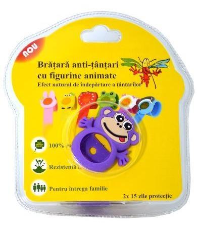Bratara anti-tantari din silicon cu 2 rezerve, pentru copii - Maimutica  inbagaj 0