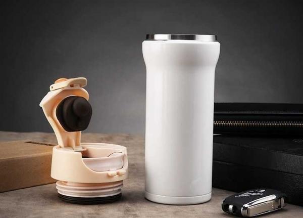 Cana cafea de calatorie 350 ml, termoizolanta - Alb 4