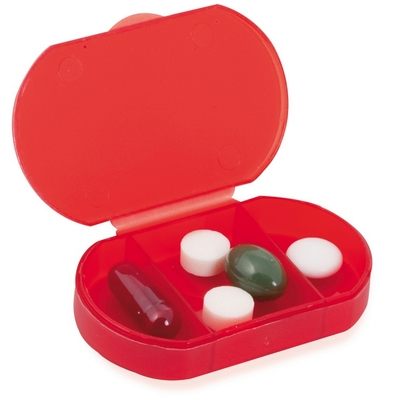 Cutie semitransparenta de pastile, 3 compartimente - Rosu 2