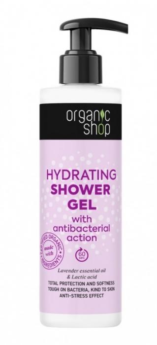 Gel de dus hidratant cu efect antibacterian, lavanda si acid lactic, 280ml - Organic Shop 0