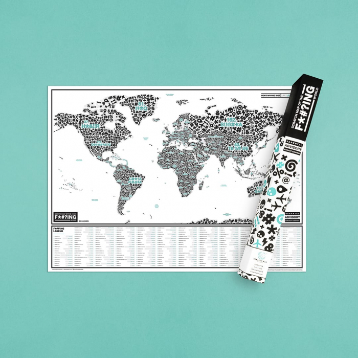 "Harta razuibila Editia "" F*#?ING WORLD "" - produs original Luckies London 0"