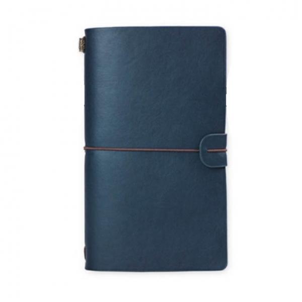 Agenda/Notebook Vintage A6 de calatorie cu coperta din Piele ecologica Albastru 0