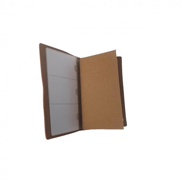 Agenda/Notebook Vintage A6 de calatorie cu coperta din Piele ecologica Maro Deschis 1