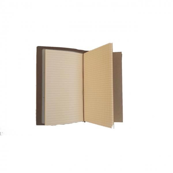Agenda/Notebook Vintage A6 de calatorie cu coperta din Piele ecologica Maro Deschis 2