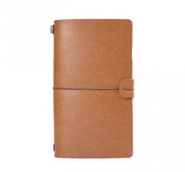 Agenda/Notebook Vintage A6 de calatorie cu coperta din Piele ecologica Maro Deschis 0