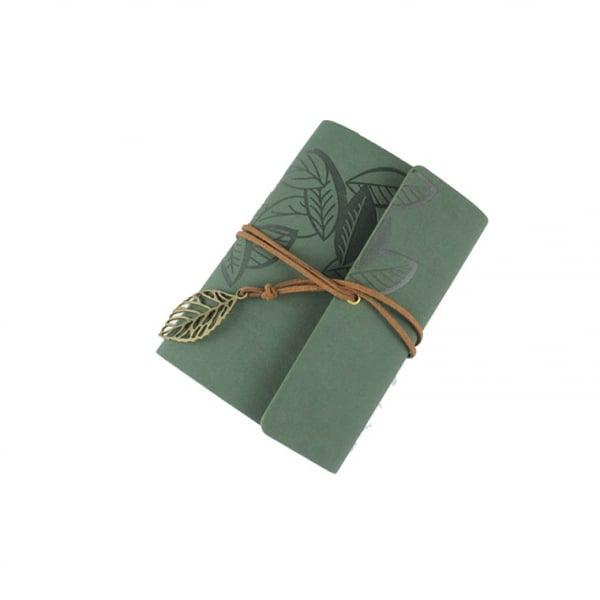 Agenda/Notebook Vintage de calatorie cu coperta din Piele Verde 0