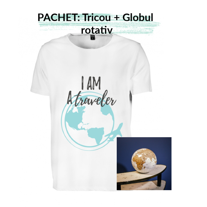 """PACHET Tricou barbati  """"I am a traveler"""" - L, alb + Globul pamantesc rotativ 0"""
