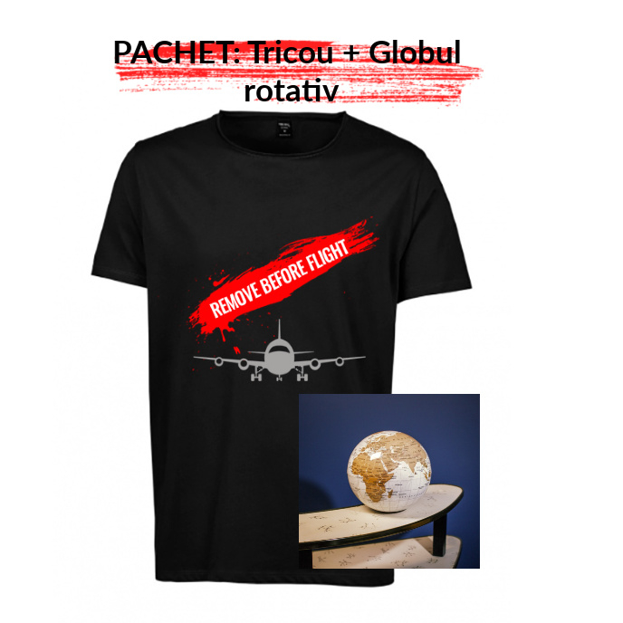 "PACHET Tricou barbati  ""Remove before flight"" - S, negru + Globul pamantesc rotativ 0"