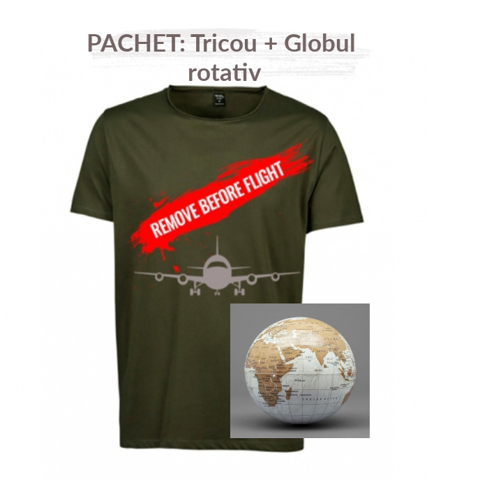 "PACHET Tricou barbati   ""Remove before flight"" - S, verde + Globul pamantesc rotativ 0"