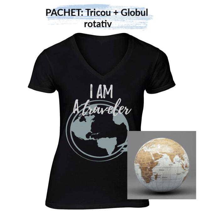 """PACHET Tricou dama """"I am a traveler"""" - S, negru + Globul pamantesc rotativ 0"""