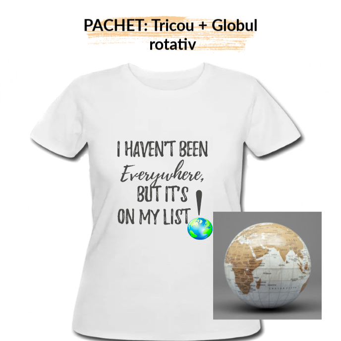 "PACHET Tricou dama ""On my list"" - M, alb + Globul pamantesc rotativ 0"