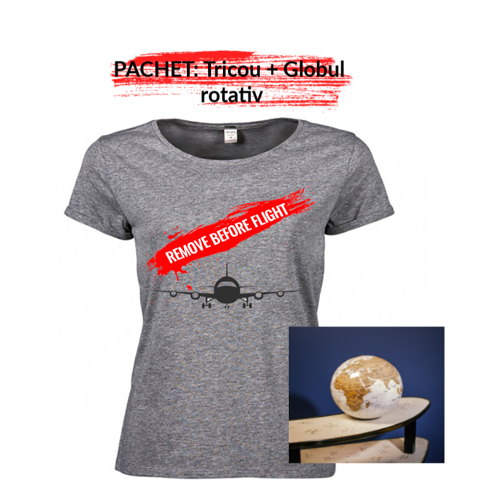 """PACHET Tricou dama """"Remove before flight"""" - M, gri + Globul pamantesc rotativ 0"""