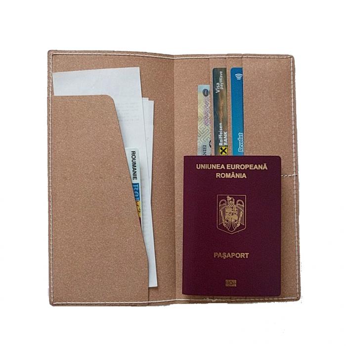 Plic port documente din piele - Crem 2