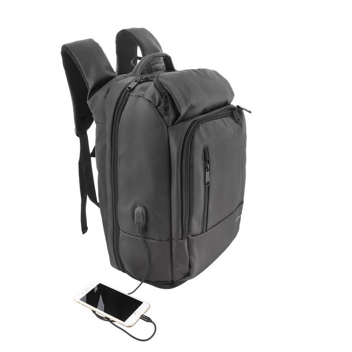 "Rucsac laptop Tellur Business XL, cu port USB, 17.3"", negru 0"