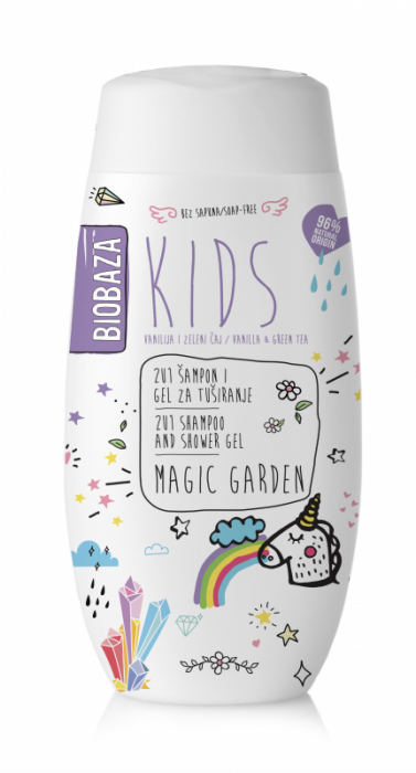 Sampon & gel de dus natural pentru copii Magic Garden, 250 ml - BIOBAZA 0