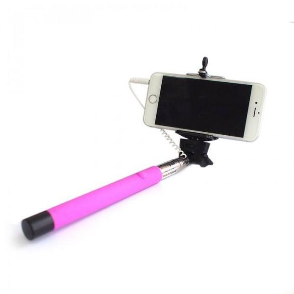 Wired Selfie Stick Tellur Z07-5 Plus, Piano Black,Plug and Play ,3.5mm jack, compatibil Apple si Samsung