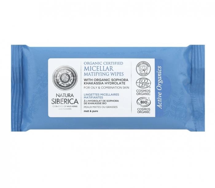 Servetele micelare matifiante pentru ten gras, mixt din bumbac organic - Natura Siberica inbagaj 0