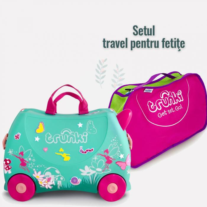 Set travel pentru copii Valiza TRUNKI Flora - Fairy + Trunki Tidy Bag Pink 0