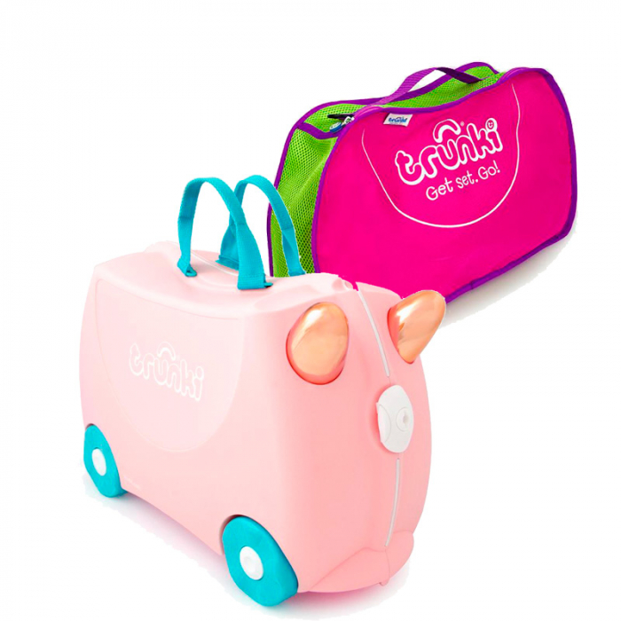 Set travel pentru copii - Valiza TRUNKI Flossy the Flamingo + Trunki Tidy Bag Pink - Trunki 0