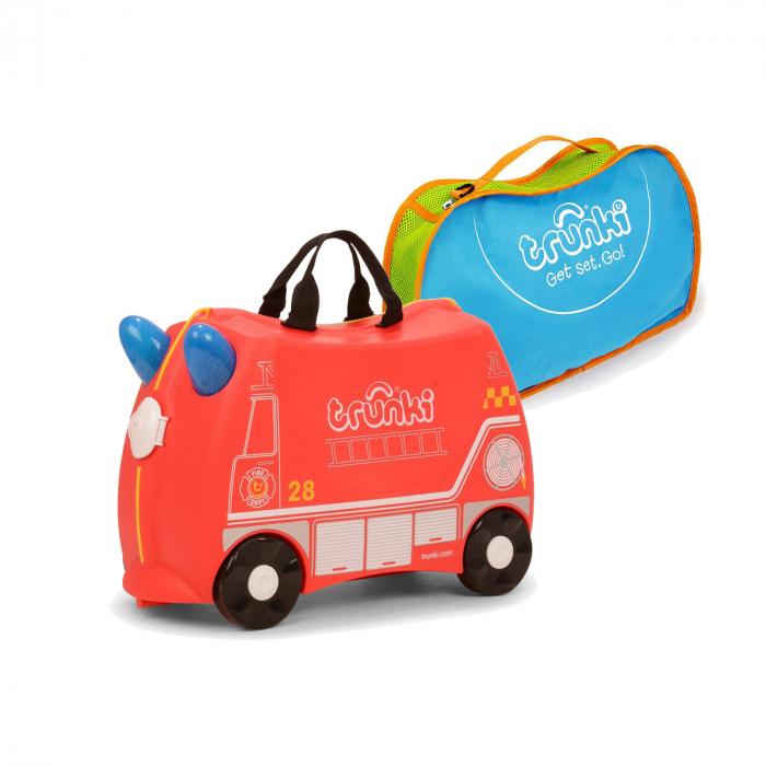 Valiza TRUNKI FRANK - Masina de Pompieri Rosu + Trunki Tidy Bag Blue 0