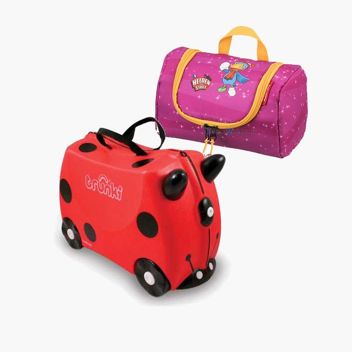 Set Travel pentru copii - Valiza TRUNKI Harley - Buburuza  + Geanta pentru cosmetice Eroii Orasului Roz [0]