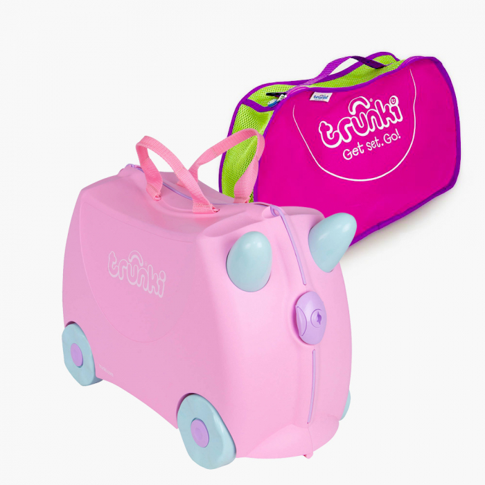 Set travel pentru copii - Valiza TRUNKI Rosie + Trunki Tidy Bag Pink [0]