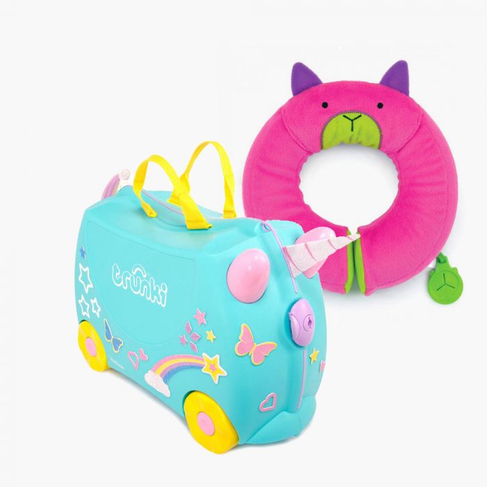 Set travel pentru copii - Valiza TRUNKI UNA - Unicornul + Perna calatorie Trunki Yondi Pink 0
