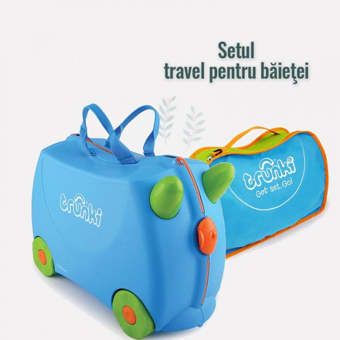 Set Valiza Trunki Terrance + Trunki Tidy Bag Blue 0